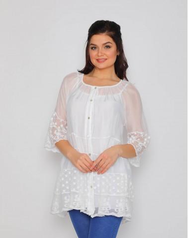 Demet Desenli Dantel Beyaz Bluz