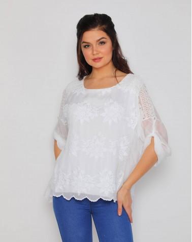 Yıldız Desenli Dantel Beyaz Bluz