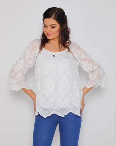 Motifli Dantel Beyaz Bluz