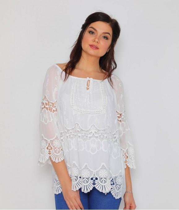 Yakadan Bağlamalı Dantel Beyaz Bluz