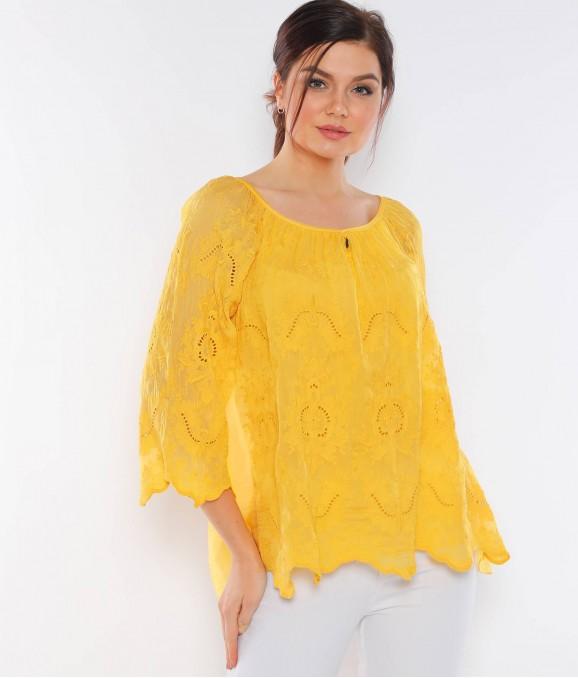 Çiçek Motifli Geniş Yaka Sarı Bluz