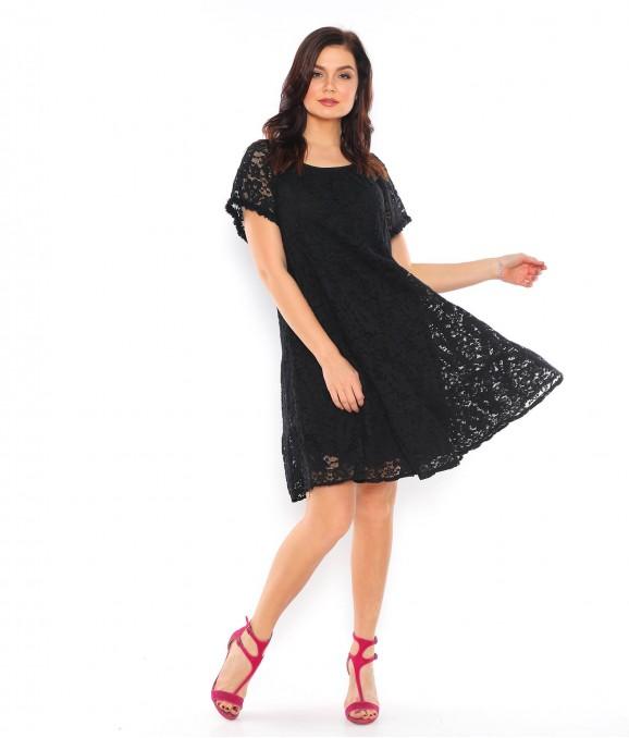 Dantel Motif Siyah Bayan Elbise