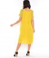 Çiçek Desen Sarı Bayan Elbise