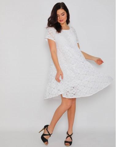 Çiçek Dantel Desenli Beyaz Bayan Elbise