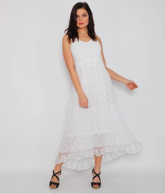 Dantel Motif Desenli Beyaz Bayan Elbise