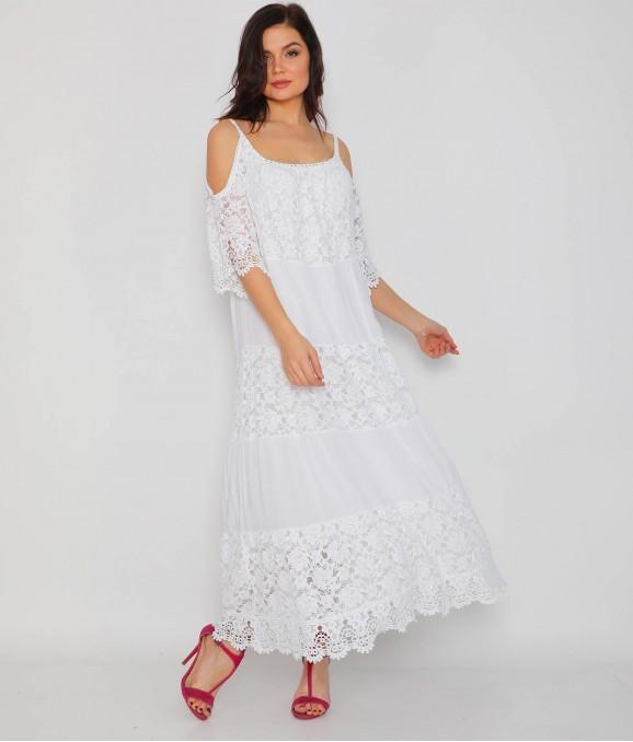 Kol Dekolteli Dantel Beyaz Bayan Elbise