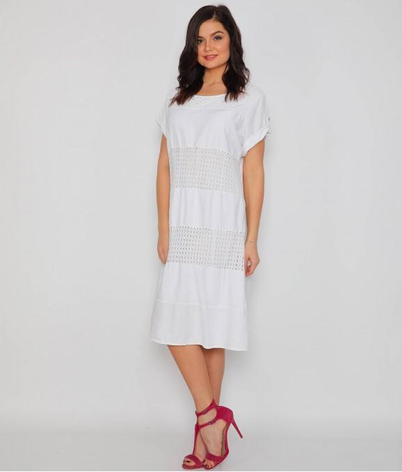 Katlama Kol Beyaz Bayan Elbise