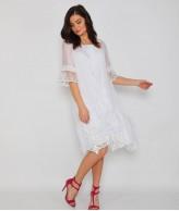 Çiçek Motifli Beyaz Bayan Elbise