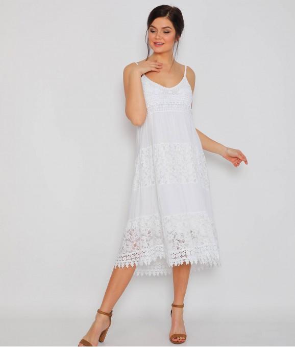 Sıfır Kol Dantel Motifli Beyaz Bayan Elbise