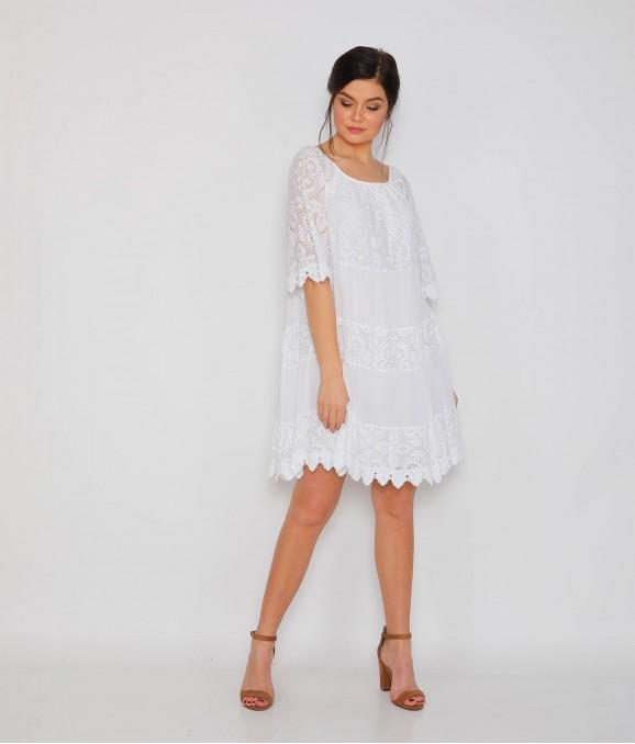 Dantel Desen Motifli Beyaz Bayan Elbise