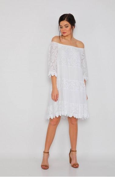 Dantel Beyaz Bayan Elbise