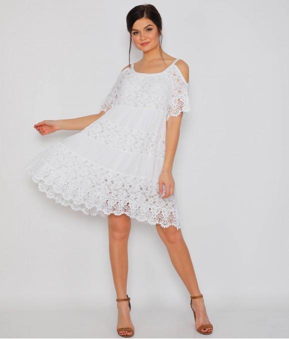 Dekolte Kol Motifli Beyaz Bayan Elbise