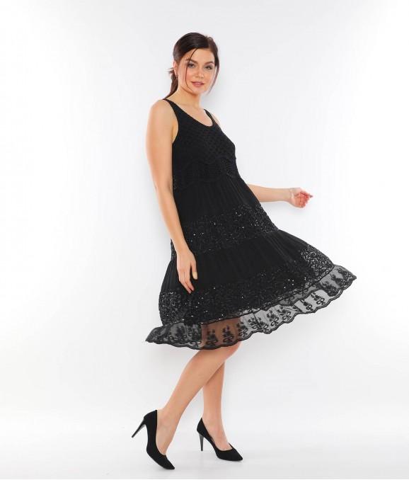 Dantel Payet Desenli Siyah Bayan Elbise